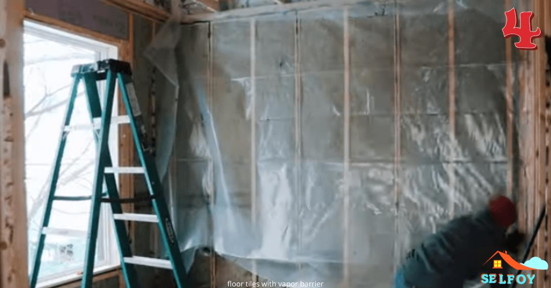 vapor barrier applied across the wall