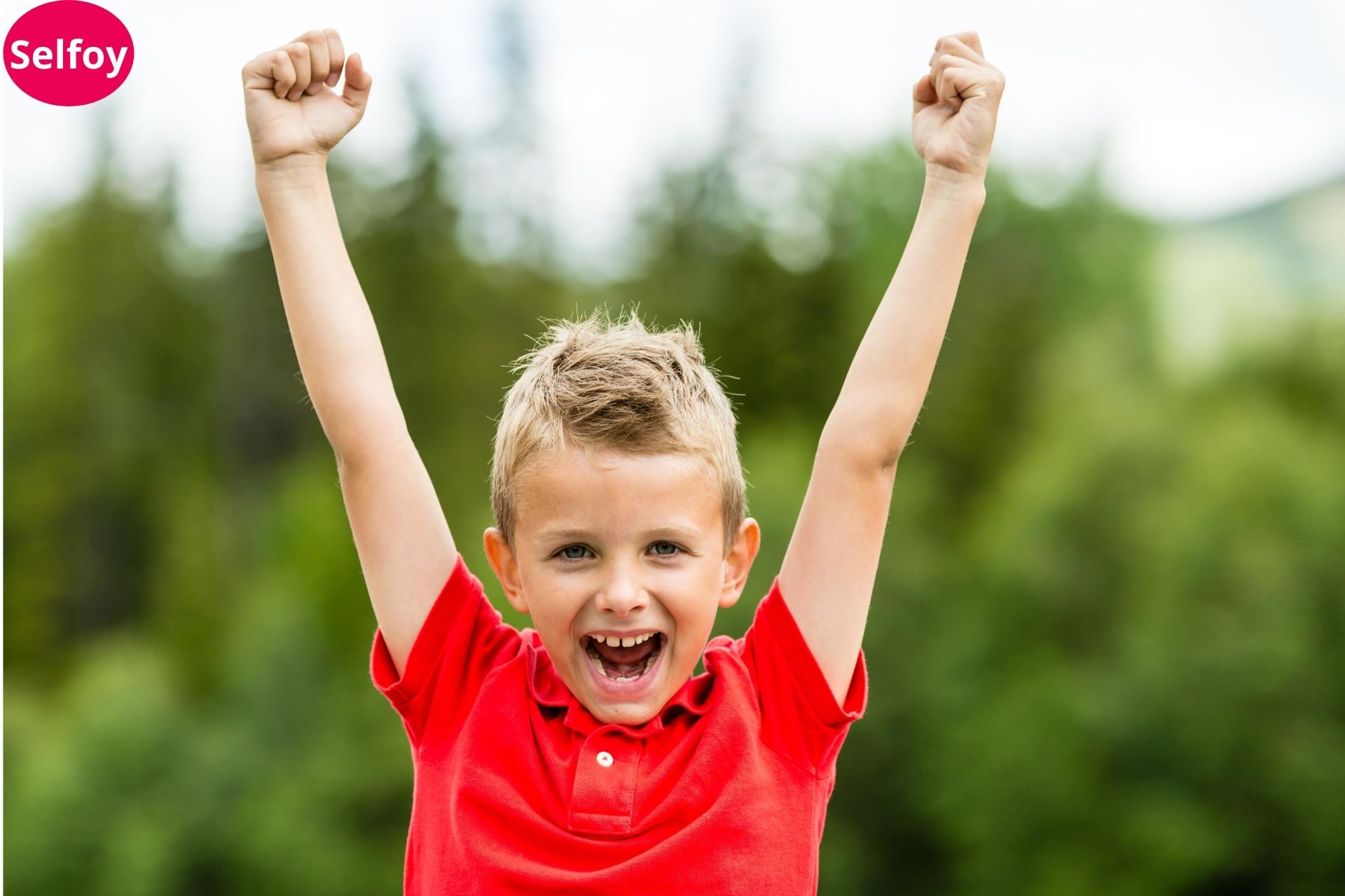 Individual boy cheering up and showing Good Personal Hygiene Helps to Develop Positive Self Esteem