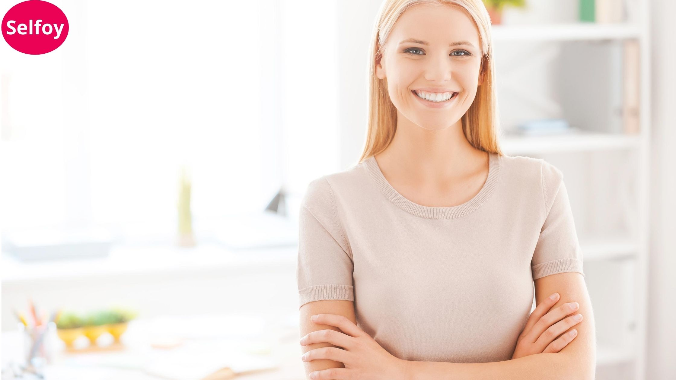 Woman is smiling and showing Good Personal Hygiene Helps to Develop Positive Self Esteem