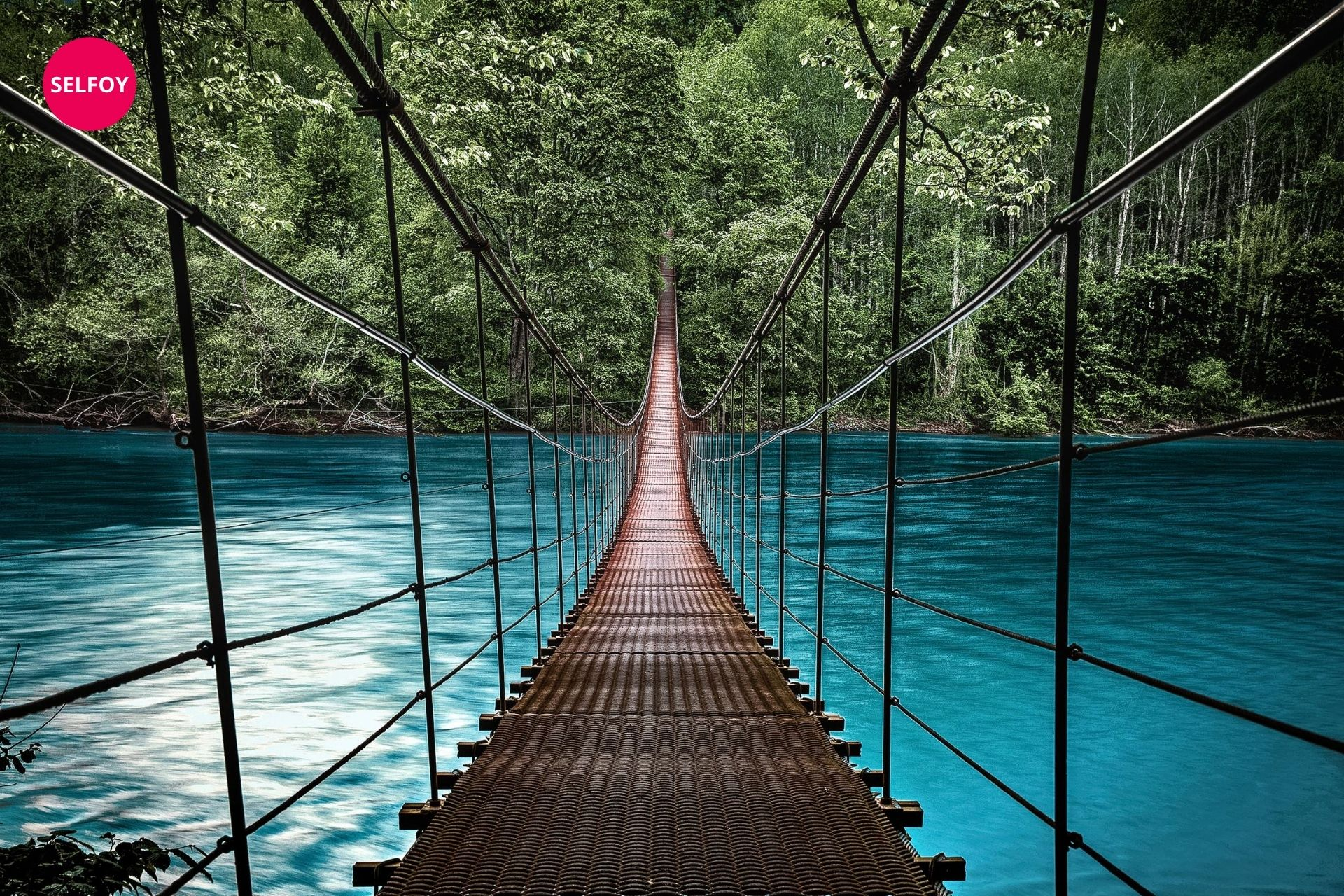 hanging pool in a blue river