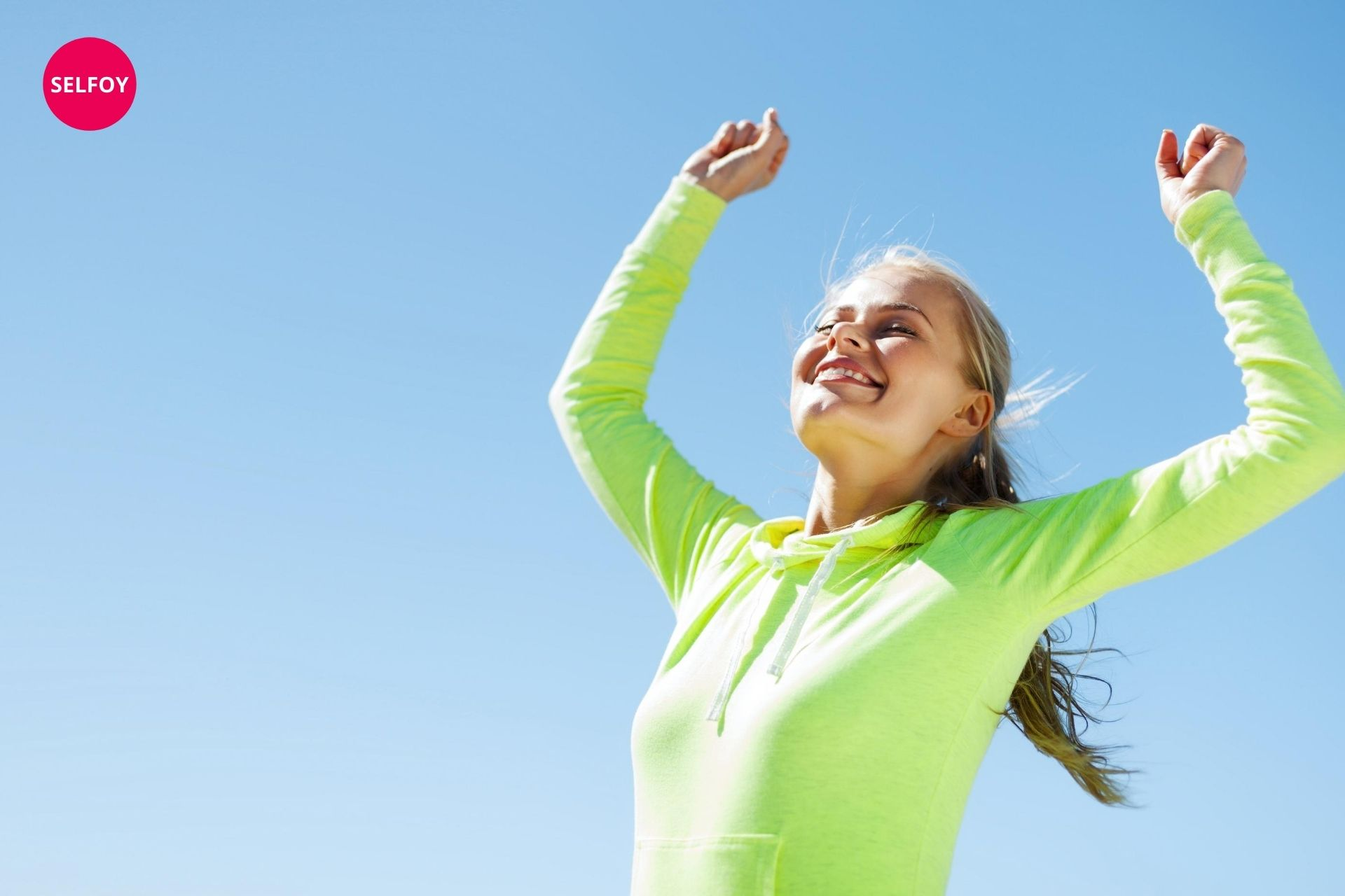 Woman feeling great and she is smiling